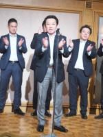 最後は芦川さんの三本締め新年会は幕を閉じました。禁煙期待しています!